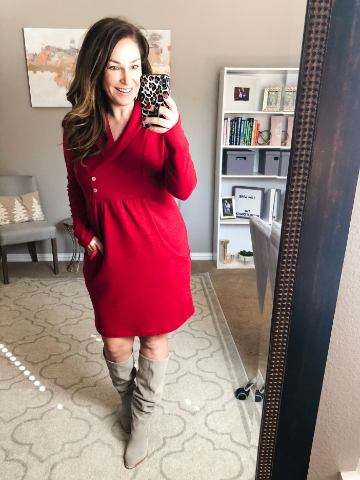 Amazon cowl neck dress in red perfect for the holidays.