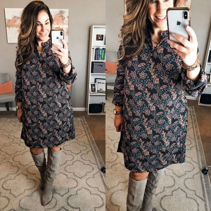 This dress was my go-to in early fall because it's lightweight and flowy yet still has a greta fall print. I wore this to a baby shower, on trips and holidays! Fit Tips: runs loose and flowy, M