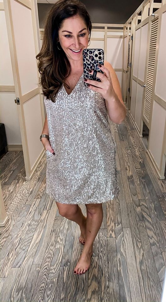 A sequin dress with pockets... need I say more?! Fit Tips: size down if in-between, I'm in a 10