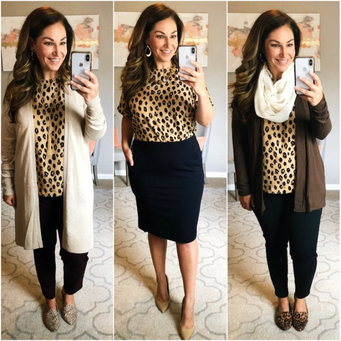 This leopard top was the perfect fall edition but EVERYONE loved it and it sold out pretty quickly. I love a great Target blouse and seems like y'all do too! See the entire capsule here. Fit Tips: size up for larger chest, L
