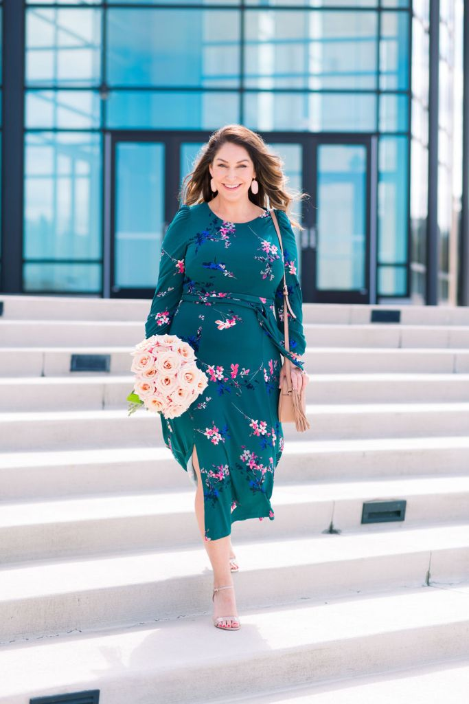 Eliza J Spring 2020 Midi Dress perfect for weddings, Easter and Mothers Day #dresses #springdress #mididress #floralprintdress