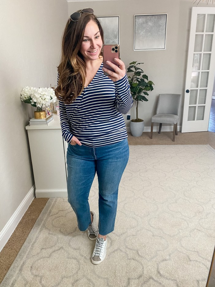 Spring 2021 Casual Mom outfit with Navy and white stripe shirt and cropped jeans