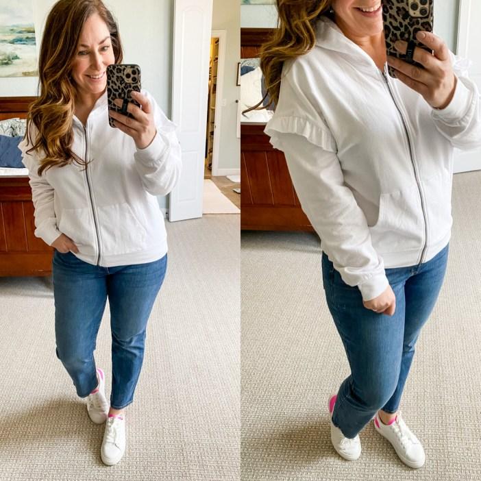 Gibsonlook Ruffle Sleeve Zip Sweatshirt Sneakers #Casual Outfit #winter2021 #whitesweatshirt #rufflesweatshirt