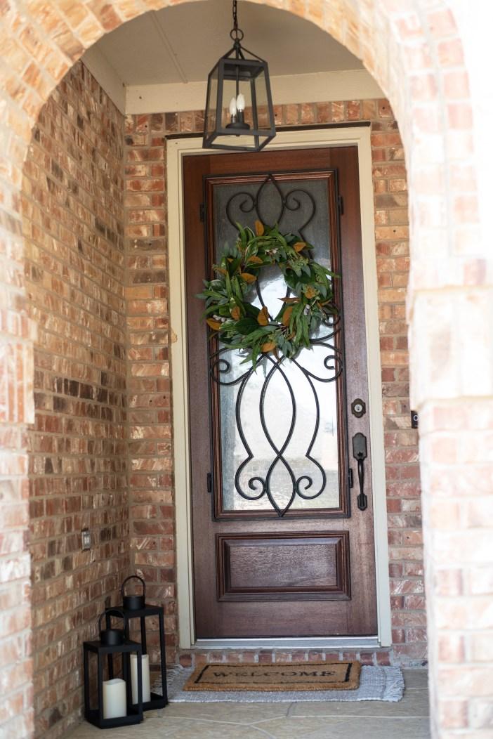 Fall Home Decor Blog #targetdecor #falldecor #lantern #frontporchdecor #homedepotpendant #targetdoormatt #welcomematt #fallwreath