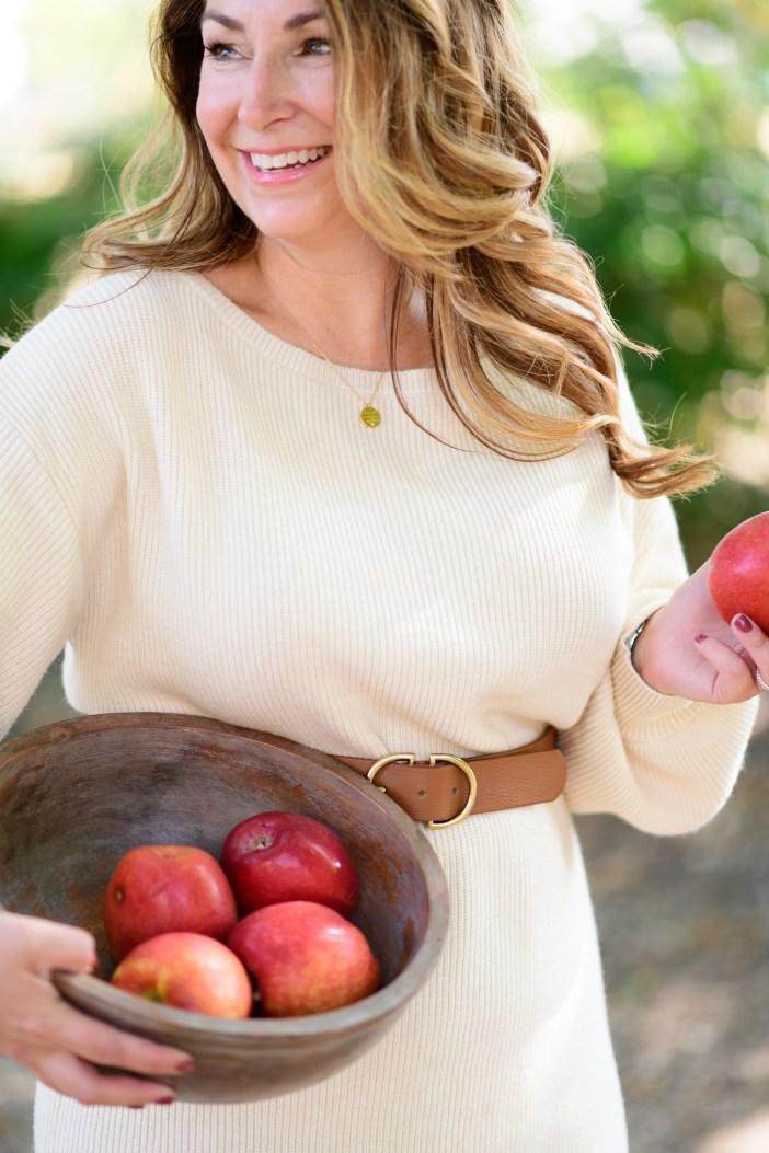 Apple Cider Donuts for Fall #fallstyle #fallrecipe #appleciderdonuts #sweaterdress #kneehighboots