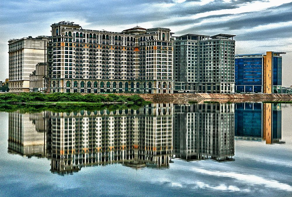 reflection, buldings, water, irfan, hussain, thereddotman, the red dot man., HDR, High dynamic range, Nikon L120, Nik HDR EFEX