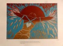 Icarus - using a William Blake quote . Reduction linocut