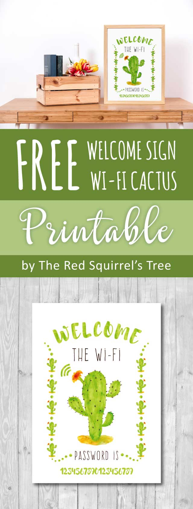 Free Cactus Wi-Fi printable to bring some desert vibes into your home décor!