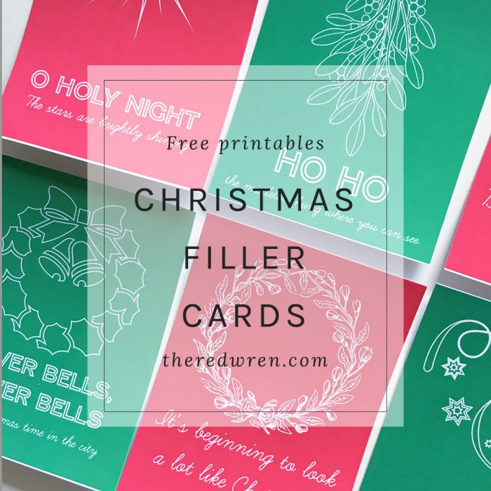 Free Christmas Printable Filler Cards