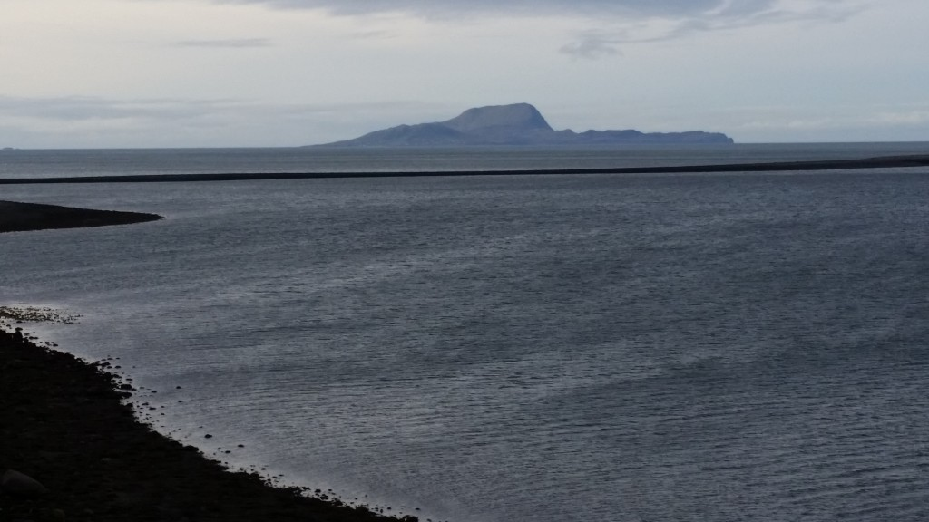 Looking west from Collan More towards Clare Island, with the bar between Inish Gort and Island More clearly visible