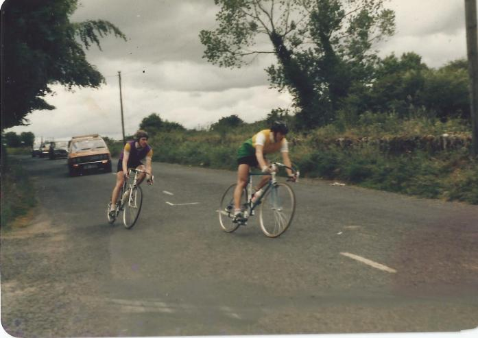 The author in a breakaway with Stephen Roche