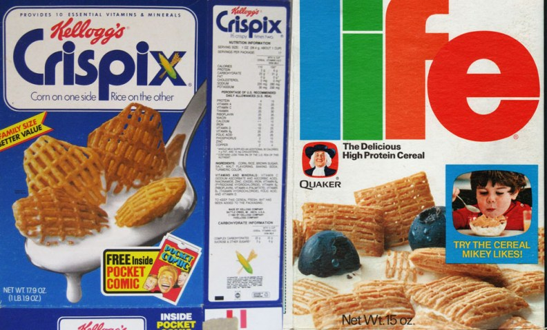 crispix and life and other cereals used glue for milk on their box covers