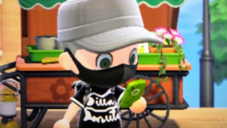 animal crossing avatar with privacy mask and dilla donuts shirt