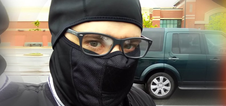 grocery store in glasses and ninja mask