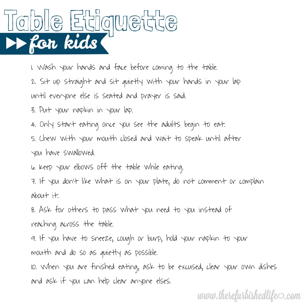 Table Etiquette Free Kitchen Printables The