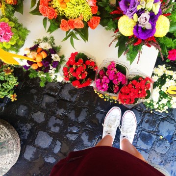 Open air market in Rome, Italy. Flowers