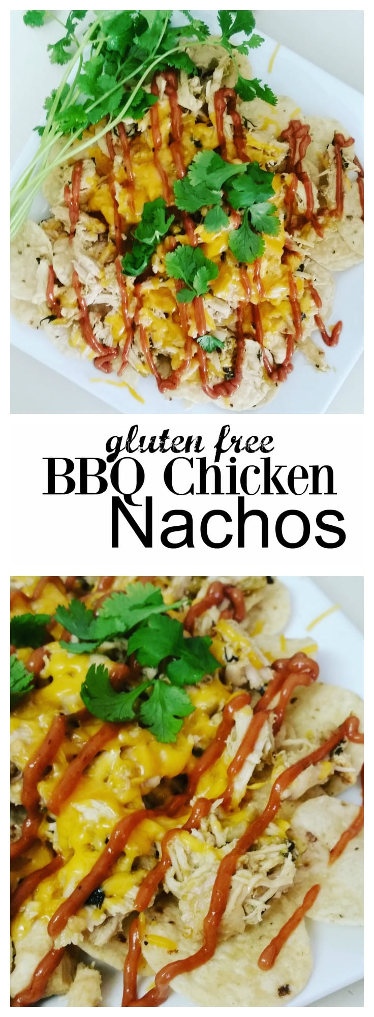 Easy to make cilantro chicken topped with cheese and a creamy BBQ drizzle.
