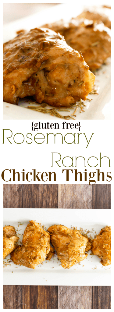 Gluten Free Rosemary Ranch Chicken Thighs: Tender chicken thighs are coated in a sweet and savory sauce with a hint of rosemary. This gluten free recipe is a simple, fast (read: on the table in 30 minutes), and surprisingly elegant dish that will have everyone asking for seconds!
