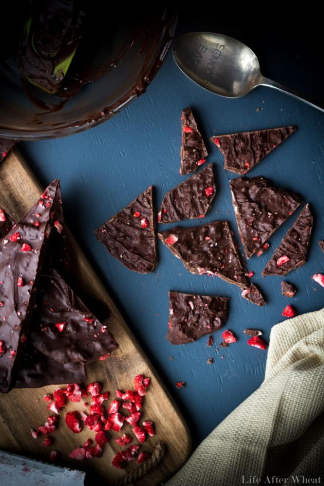 The elegance of chocolate dipped strawberries in an easy-to-make chocolate bark! Creamy melted chocolate is studded with crisp freeze dried strawberries and topped with Himalayan sea salt. It's a beautiful treat that is perfect for any occasion or holiday! Dairy free option.