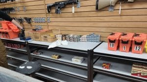 Bare shelves at a gun range