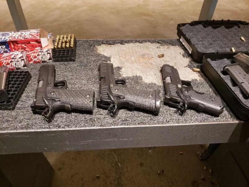 Handguns at a shooting range
