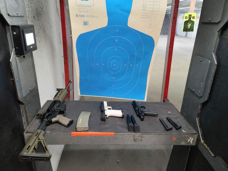 Guns and a target