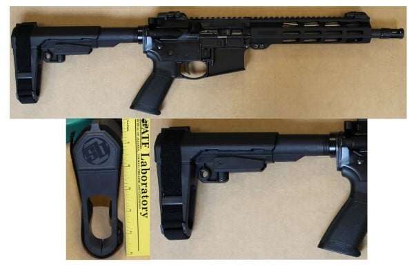 An AR-15 equipped with a stabilizing pistol brace / ATF