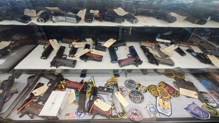 Handguns for sale at a Virginia gun store