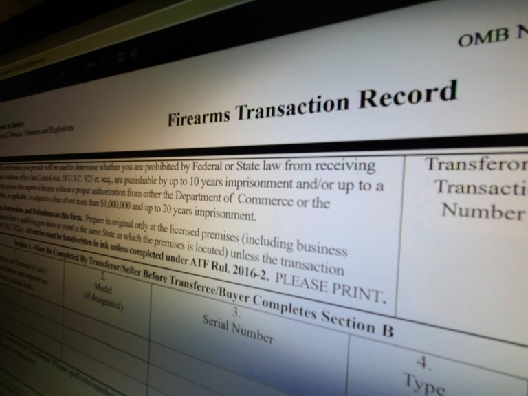 ATF form 4473 used during gun background checks