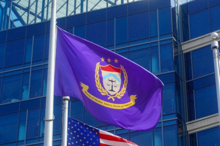 A flag flies outside the headquarters of the ATF