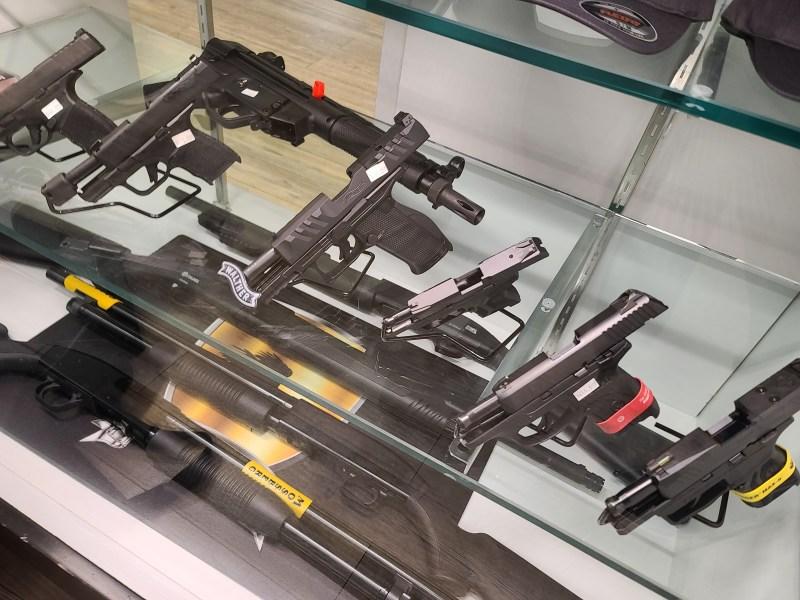 Guns for sale at a gun shop
