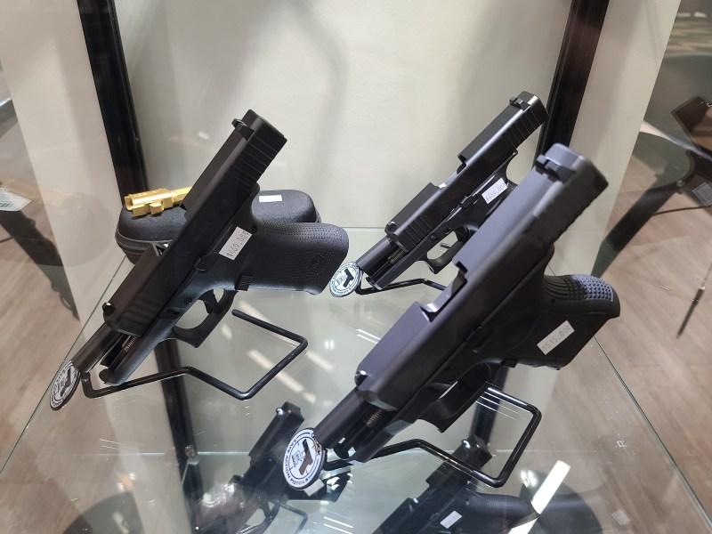 Pistols on display at a gun store