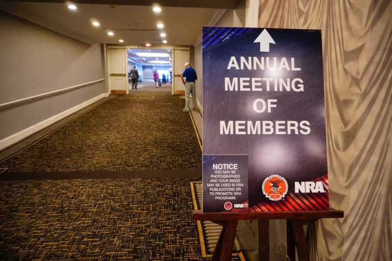 A sign outside the 2021 NRA Members' Meeting in Charlotte, North Carolina