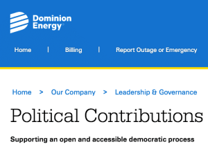 Dominion Energy's political contributions disclosure website