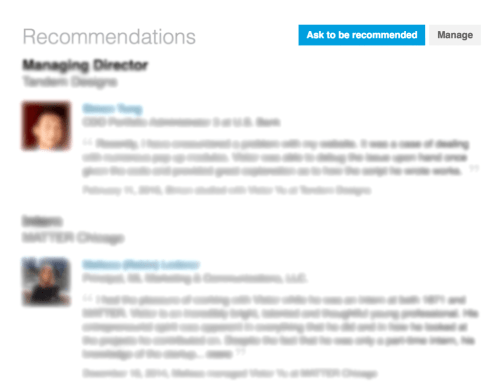 Recommendations Section - LinkedIn