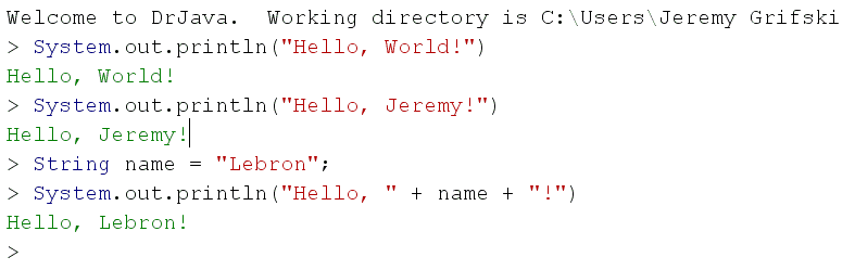 DrJava String Concatenation Example