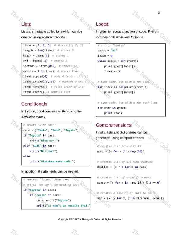Python 2 Beginner Cheat Sheet Watermark