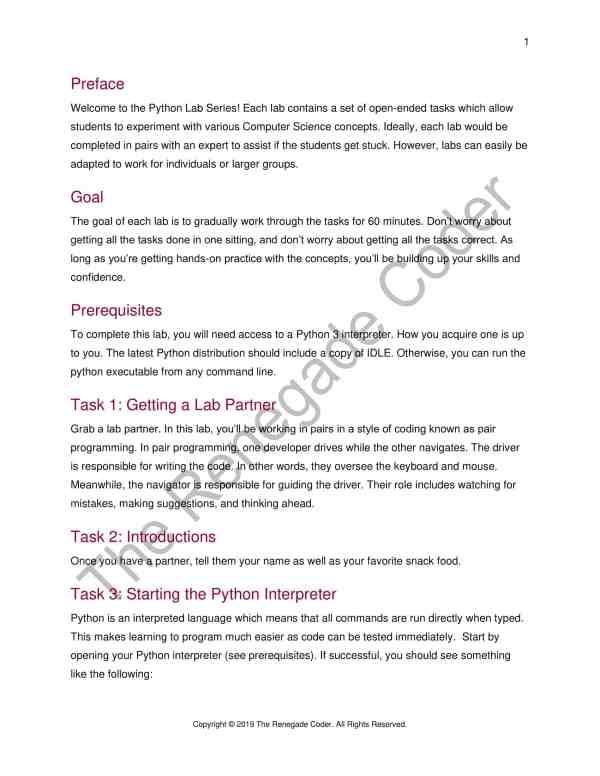 Python Numbers & Operators Lab Intro Page