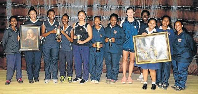 CELEBRATING THE BARD: At the annual Girls' High School Shakespeare Festival, the prizes went to, from left, Dhrishya Thomas (best senior prologue), Kristin Arends (best senior production), Thina Ntsaluba and Iviwe Malotana (best senior actress), Stechia Hughes (senior actress runner-up), Othandwayo Ncobo (best junior actress), Lithe-Thaa Tembani (junior actress runner-up), Micaela Maass (best poster), Joyce Ejumu (best programme), Emma-Jay Sparks (best junior production), Jodie Ishwarlall and Alecia Goeiman (best junior prologue)