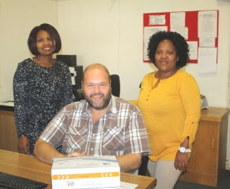 The staff of Premium Toner Cartridges, from left, Nana Mpopo, Morne du Plessis and Amanda Qitsi