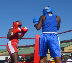 WOMEN POWER: Phumeza Bayibayi from Thambo Village won her fight against Avile Teyise from Cala during the 60th Women's March anniversary boxing matches at the Thobi Kula Indoor Sport Complex Picture: ABONGILE SOLUNDWANA
