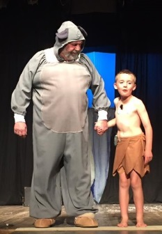 From left, Taki Kyriacos as Blco and Riley Hansel as Mowgli in the SADS production, 'Be our guest'