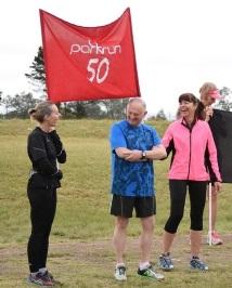 Celebrating their 50th/100th Milestone at the Stutterheim parkrun were Alan Koopowitz and Linda Lanz, with, from left, Caron Williams, Koopowitz and Lesley Koopowitz