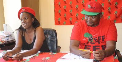 CRYING FOUL: Economic Freedom Fighters central command team member Ntokozo Hlonyana and party chief whip in the Enoch Mgijima municipal council Luthando Amos addressed the media at the party's offices on Monday Picture: ZOLILE MENZELWA