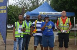 SAFETY FIRST: Members of the Komani police, Community Policing Forum, Chris Hani District Municipality and the government communication information system gave safety tips to residents at the Chris Hani Hexagon in the CBD on Tuesday, with, from left,  Lwando   Helesi , Lonwabo Kowa, Warrant Officer Mxolisi Zingelwa, Captain Namhla Mdleleni and Andries Schlebusch