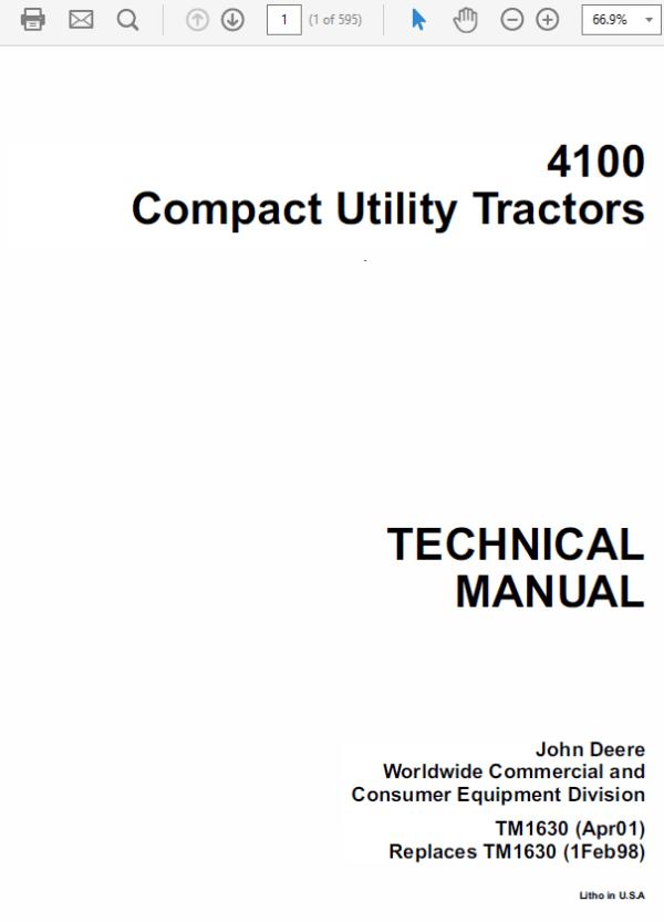 john deere 4100 compact utility tractors service manual tm1630