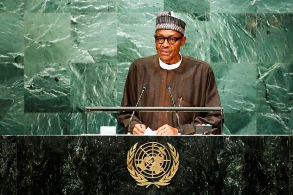 Nigerian President Buhari addresses the United Nations General Assembly in the Manhattan borough of New York
