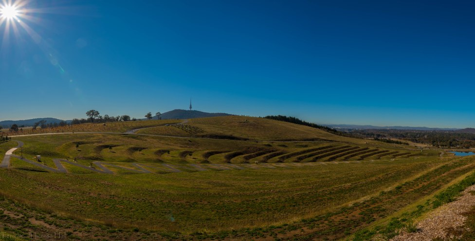 Looking over the Arboretrum, towards Telstra Tower, Canberra, Australia.