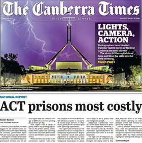 Screen shot of the front page of the Canberra Times showing my image of lightning over Parliament House, Canberra, Australia. Photo was taken the night before.