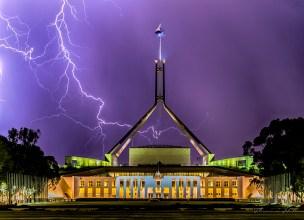 Lightning striking Parliament House, Canberra, Australia.